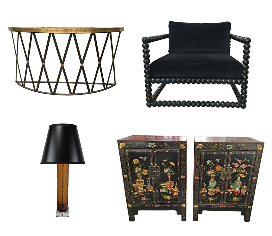 First Row: Allan Knight Aged Iron French Console Table, Allan Knight Rocio  Armchairs