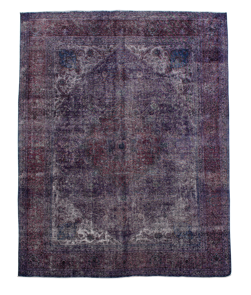 purple over dyed rug