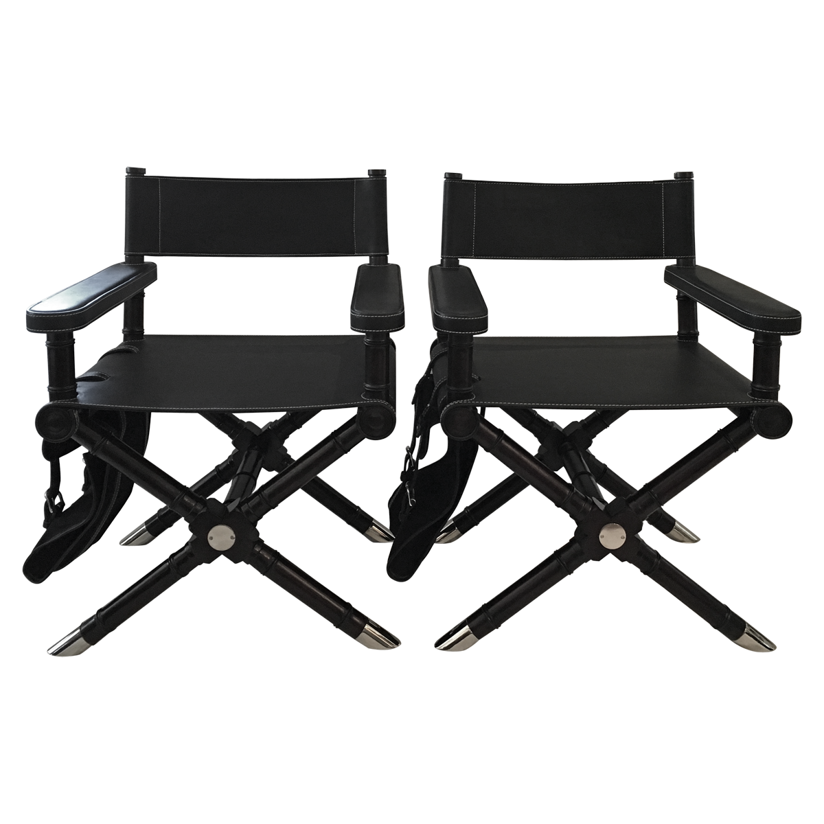 Modern black leather directors chair