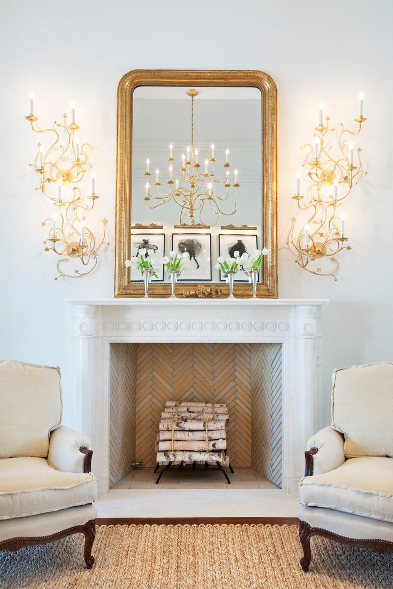 Megan Winters Gold Mirror White Fireplace