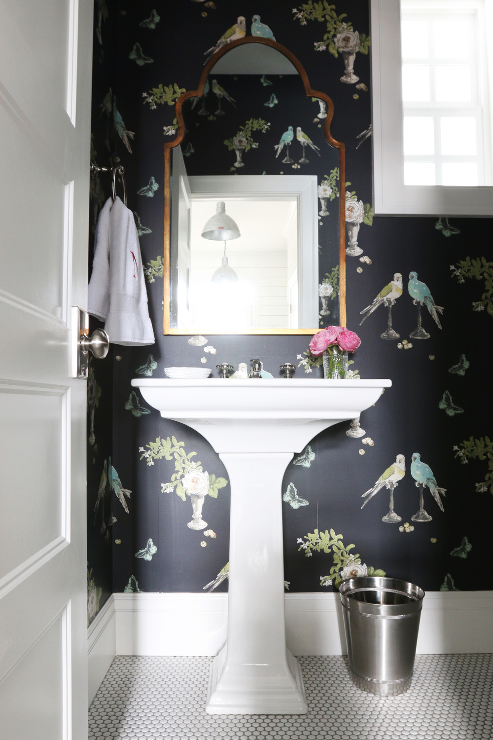 8 fabulous powder rooms that will inspire a makeover v i for Dark bathroom wallpaper