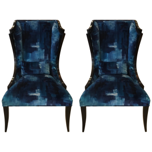 Christopher Guy Blue Velvet High Back Chairs