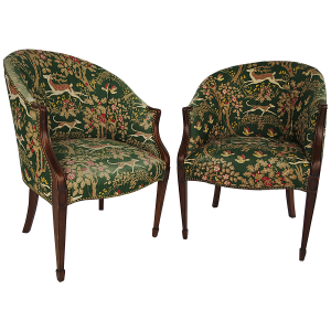 Kittinger Hunter Green Upholstered Barrel Chairs