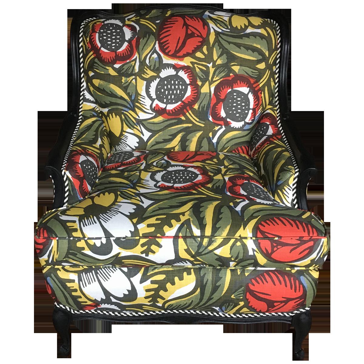 Vintage Bold Botanical Chair